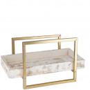 Metal tray Kelmo, L40cm, W42cm, H20cm, white